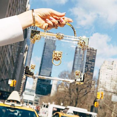 Transparent Acrylic with Gold Hardware Mini Trunk Clutch