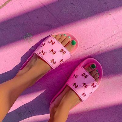 Pink Rubber GG Slide Sandal