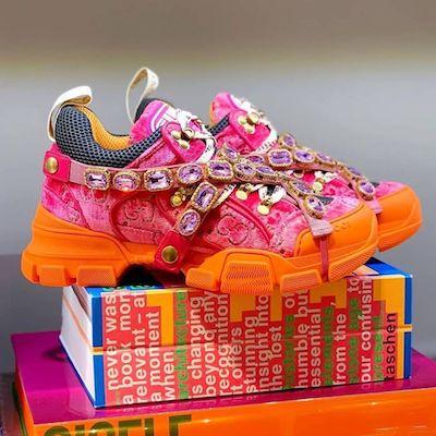 GG Flash-track Velvet Sneaker