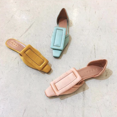 Baby Pink Square Toed Loafers