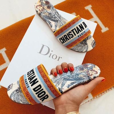 Orange DWay in Embroidered Cotton Mule