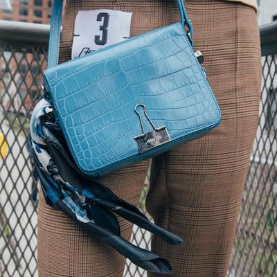 Blue Crocodile Embossed Leather Shoulder Bag