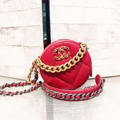 Red Round Pouch with Chain