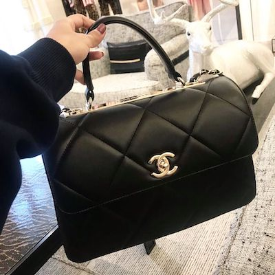 Black Small Flap Bag with Top Handle