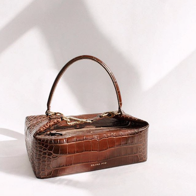 Brown Olivia Crocodile Embossed Leather Box Bag
