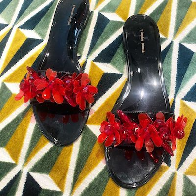 Black Red Embellished Sandal