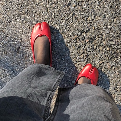 Red Tabi Ballerina Shoes