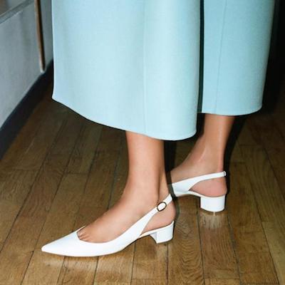White Lamb Slingback Heels
