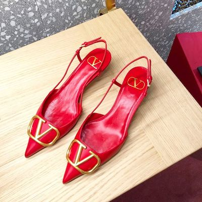 Red V-Logo Pump Ballerina