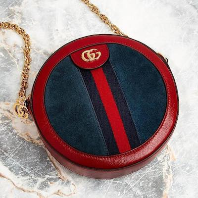 Red Blue Ophidia Mini Round Bag