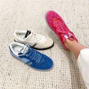 Pink Velvet Fabric & Calfskin Sneakers