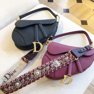 Maroon Dior Saddle Bag