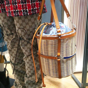 Wicker Small Bucket Shoulder Bag