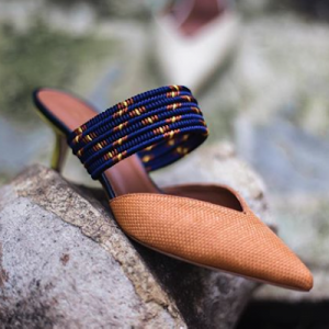 Contrast Woven Strap Mules