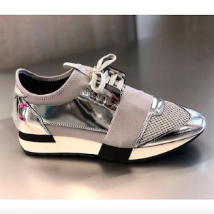 Grey and Silver Race Runner Leather Sneakers