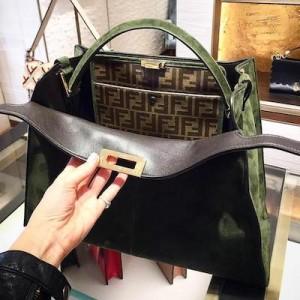 PEEKABOO X-LITE Green suede bag
