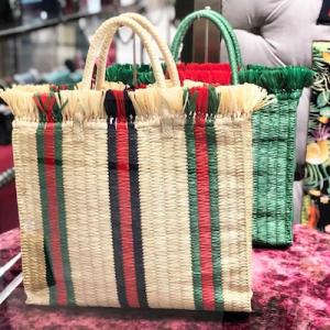 Straw Large Top Handle Tote Bag