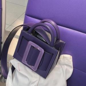 Purple Karl 19 Leather Top Handle Bag