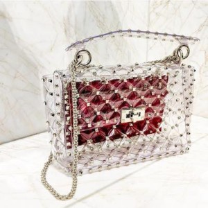 Valentino Transparent Red and Metalic PVC Bag