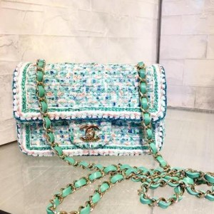 Mini Green, White Tweed Flap Bag