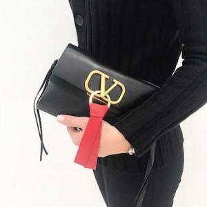 Black Small VRings Calfskin Shoulder Bag