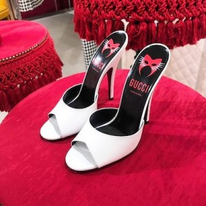 White Leather High Heeled Mules