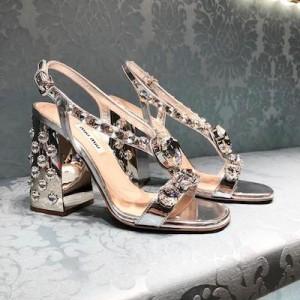 Silver Embellished  Leather Sandal